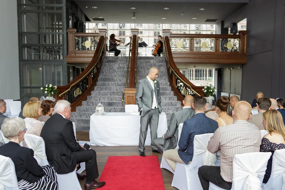Titanic Hotel Wedding Ceremony Groom waiting