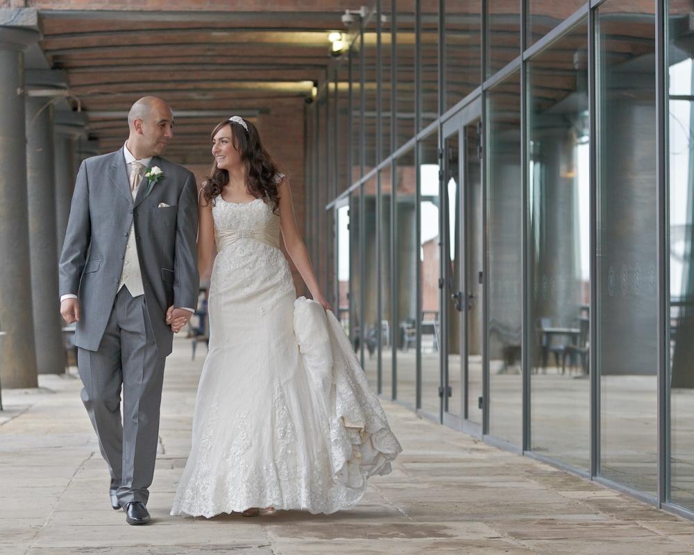 Titanic Hotel Wedding Bride & Groom walking Stanley Dock