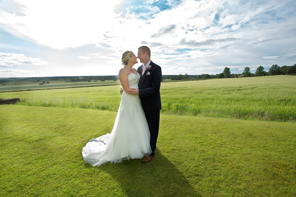 Bride & Groom rear of the West Tower Hotel Aughton
