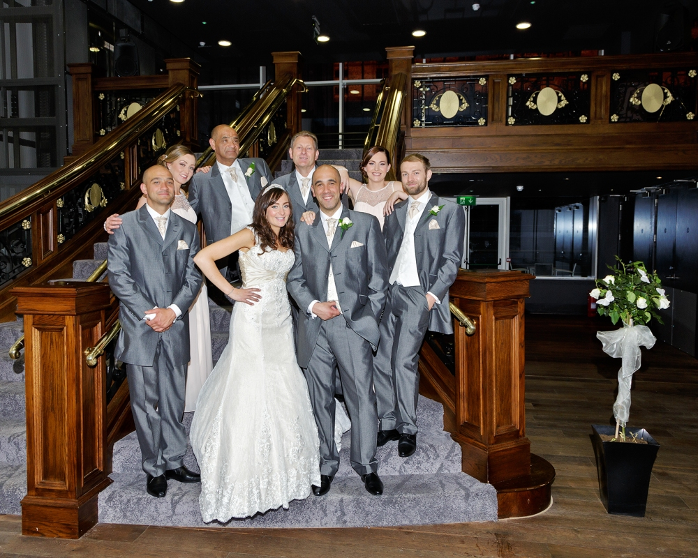 Titanic Hotel Wedding Party on stairs
