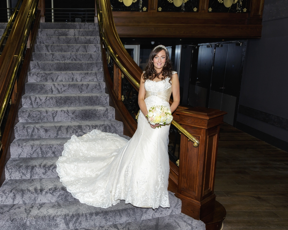Titanic Hotel Wedding Bride on stairs