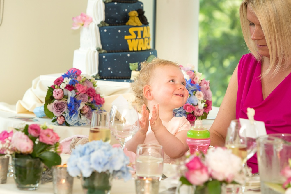 baby laughing during the speeches at the West Tower Hotel