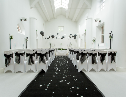 black & white Ceremony Room Chancellors Hotel Manchester